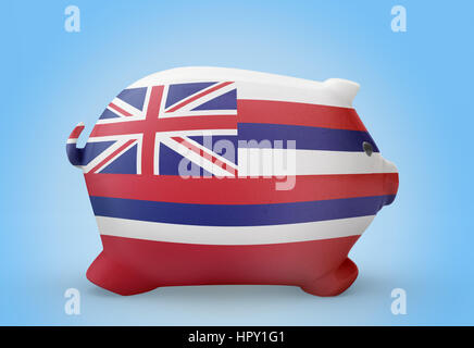 Side view of a piggy bank with the flag design of Hawaii.(series) - Stock Photo