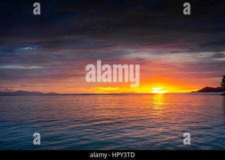 Beautiful sunset in Praslin, Seychelles - Stock Photo