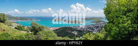 The beautiful town of Charlotte Amalie in Saint Thomas  US virgin islands in the Caribbean sea - Stock Photo