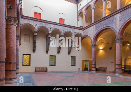 BOLOGNA, ITALY - MARCH 16, 2014: Atrium of Museo civico medievale - Medieval museum - Stock Photo