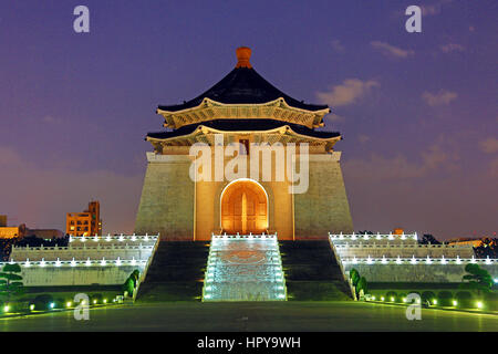The National Chiang Kai Shek Memorial Hall illuminated at night in Taipei, Taiwan. - Stock Photo