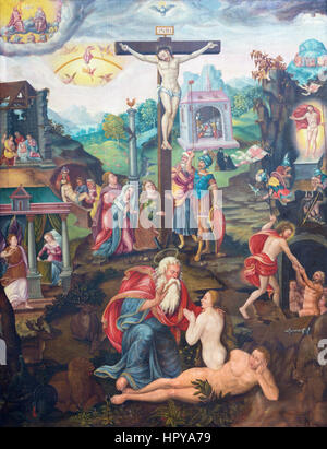 BERLIN, GERMANY, FEBRUARY - 16, 2017: The painting of Crucifixion in church Marienkirche by unknown artist of 16. - Stock Photo