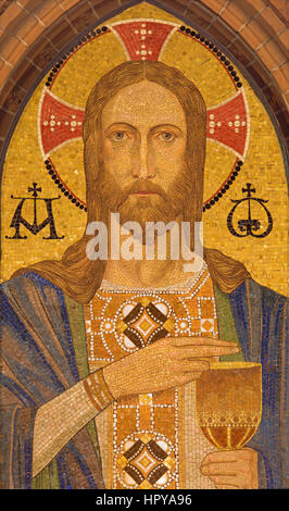 BERLIN, GERMANY, FEBRUARY - 16, 2017: The mosaic of Jesus Christ in St. Pauls evengelical church by unknown artist - Stock Photo