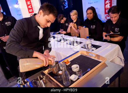 UK Barista championships - Sam Dunford and his coffee cocktail ..London Coffee Festival 2012 , Truman Brewery , - Stock Photo