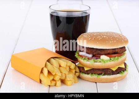 Double burger hamburger and fries menu meal combo cola drink - Stock Photo