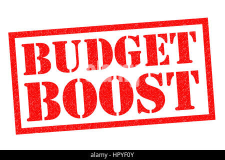 BUDGET BOOST red Rubber Stamp over a white background. - Stock Photo