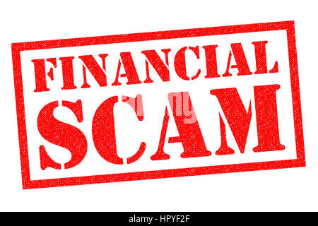FINANCIAL SCAM red Rubber Stamp over a white background. - Stock Photo