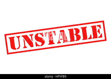 UNSTABLE red Rubber Stamp over a white background. - Stock Photo