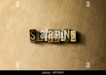 SHIPPING - close-up of grungy vintage typeset word on metal backdrop. Royalty free stock - 3D rendered stock image. - Stock Photo