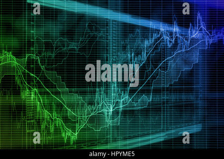 Abstract blurred background based on stock market graphs on the screen. Stock exchange activity and exchange rates - Stock Photo