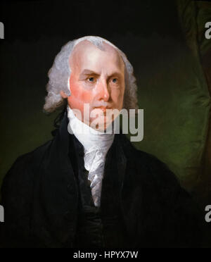 James Madison. Portrait of the 4th US President, James Madison (1751-1836) by Gilbert Stuart, oil on wood, c.1821 - Stock Photo