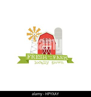 Fresh from the Farm concept logo. Template with farm landscape, windmill. Label for natural farm products. Colorful - Stock Photo