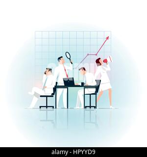 Business concept illustration. Business people working. Elements are layered separately in vector file. - Stock Photo