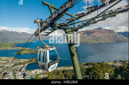 Gondola, view of Lake Wakatipu and Queenstown, Ben Lomond Scenic Reserve, Otago, Southland, New Zealand - Stock Photo
