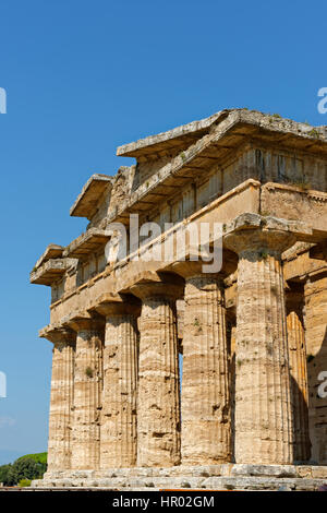 Greek Doric temple, Temple of Hera, Paestum archaeological site of Paestum, Capaccio Paestum, Campania, Italy - Stock Photo