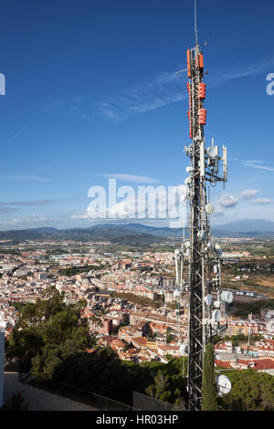 Spain, Blanes town, radio mast, communication tower with antennas for telecommunications and broadcasting, top of - Stock Photo