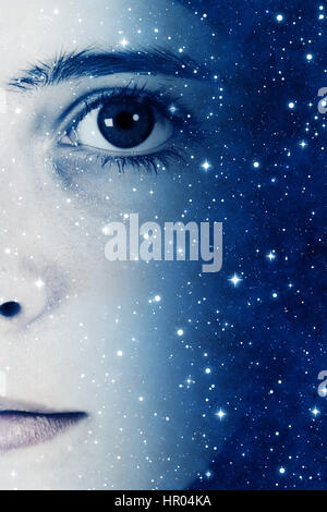 girl face and stars, future generations concept - Stock Photo