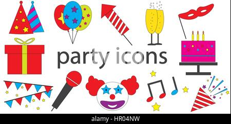 Party icons vector isolated in white background. - Stock Photo