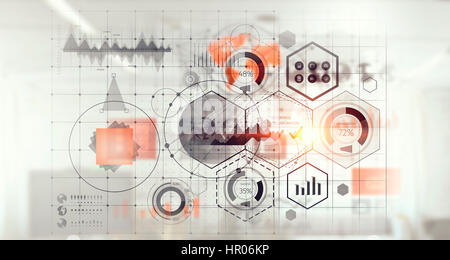 Connection business and communication technology    . Mixed media - Stock Photo