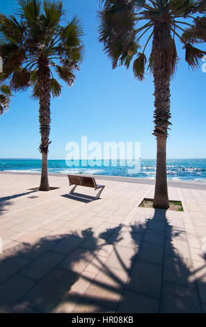Peaceful bench seat with ocean view among palm trees in Palma de Mallorca, Balearic islands, Spain - Stock Photo