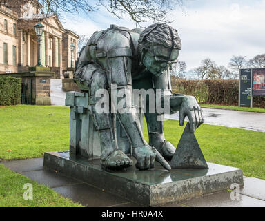 Master of the Universe sculpture in front of Scottish National Gallery of Modern Art by Eduardo Paolozzi, Edinburgh, - Stock Photo