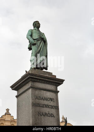 Adam Mickiewicz, greatest Polish Romantic poet of the 19th century, monument closeup in Krakow, Poland. It is a - Stock Photo