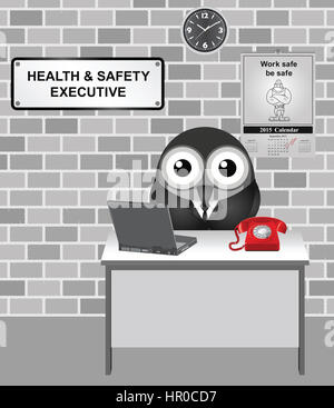 Comical bird Health and Safety Executive responsible for enforcing the Health and Safety at Work Act 1974 with work - Stock Photo