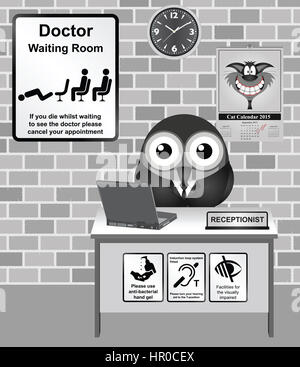 Comical bird receptionist and Doctors waiting room - Stock Photo