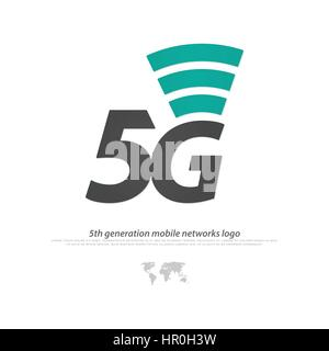 new 5th generation mobile network logotype. vector 5G icon. high speed connection wireless systems symbol. telecommunications - Stock Photo