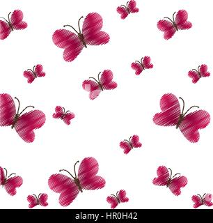 cute red butterfly seamless pattern - Stock Photo