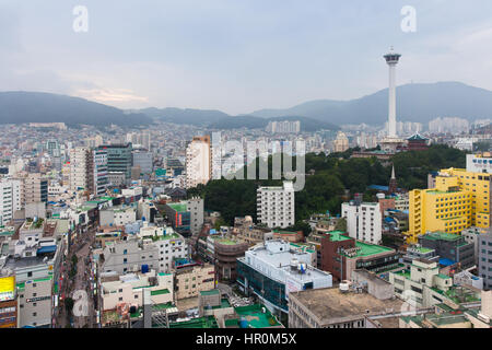 Busan, South Korea - 24 August 2014: Daytime view over Busan city from Lotte Department Store observation deck on - Stock Photo
