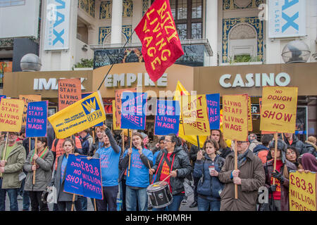London, UK. 25th Feb, 2017. Picture house staff protest against low wages in their Cineworld owned chain - they - Stock Photo