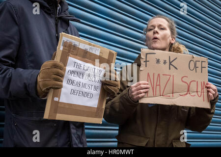 London, UK. 25th Feb, 2017. Anti-fascists protest in Dalston, NE London outside the LD50 art gallery calling for - Stock Photo