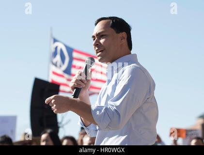 Austin, Texas, USA. 25th February 2017. U.S. Congressman Joaquin Castro, D-San Antonio, speaks as more than a thousand - Stock Photo
