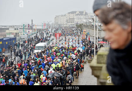 Brighton Sussex, UK. 26th Feb, 2017. Thousands of runners taking part in the Vitality Brighton Half Marathon in - Stock Photo