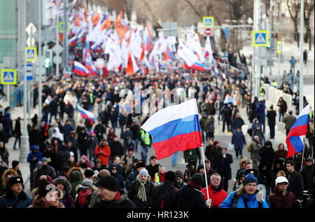 Moscow, Russia. 26th Feb, 2017. Participants in a march in memory of Russian politician Boris Nemtsov on the eve - Stock Photo