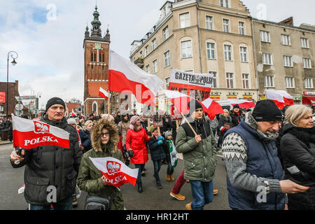 Gdansk, Poland. 26th February 2017. People with Polish flags attending the parade are seen during the Cursed soldiers - Stock Photo