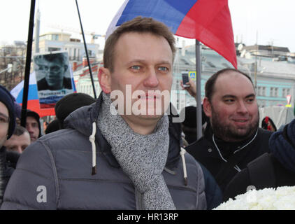 Moscow, Russia. 26th Feb, 2017. Opposition member Alexei Navalny participates in a demonstration in Moscow, Russia, - Stock Photo