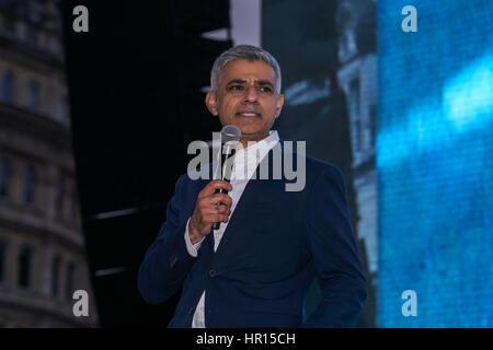 London, UK. 26th February 2017. Speaker Sadiq Khan attends The Salesman, Trafalgar Square,London,UK. by See Li Credit: - Stock Photo