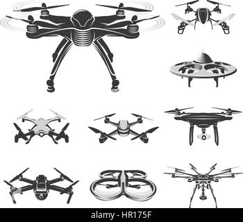 Isolated quadcopter, rc drone logo collection, fpv device logotype set vector illustration - Stock Photo