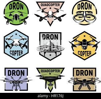 Isolated quadcopter icons in colorful frames, rc drone logos collection, fpv device logotype set vector illustration. - Stock Photo