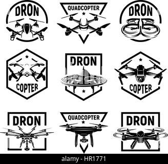 Isolated monochrome quadcopter icons in frames, rc drone logos collection, fpv device logotype set vector illustration. - Stock Photo