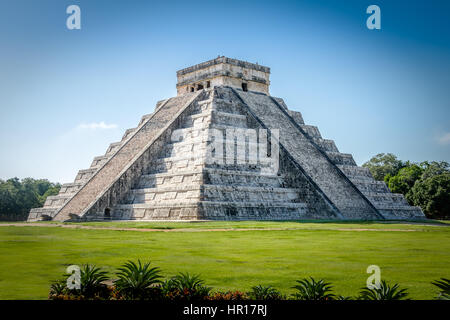 Mayan Temple pyramid of Kukulkan - Chichen Itza, Yucatan, Mexico - Stock Photo