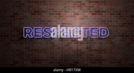RESPECTED - fluorescent Neon tube Sign on brickwork - Front view - 3D rendered royalty free stock picture. Can be - Stock Photo