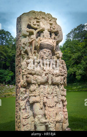 Carved Stella in Mayan Ruins - Copan Archaeological Site, Honduras - Stock Photo