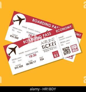 airline ticket flight icon - Stock Photo