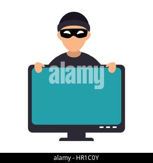 system hacker character icon - Stock Photo