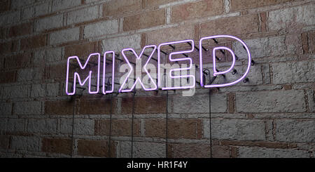 MIXED - Glowing Neon Sign on stonework wall - 3D rendered royalty free stock illustration.  Can be used for online - Stock Photo