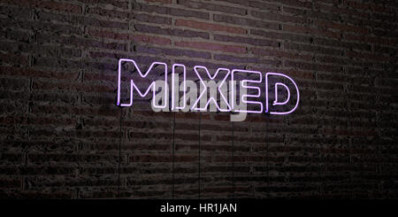 MIXED -Realistic Neon Sign on Brick Wall background - 3D rendered royalty free stock image. Can be used for online - Stock Photo