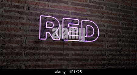 RED -Realistic Neon Sign on Brick Wall background - 3D rendered royalty free stock image. Can be used for online - Stock Photo